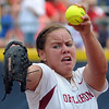 Oklahoma pitcher Keilani Ricketts struck out 13 Arizona State batters, Sunday, June 3, 2012, in a semifinal game of the Womens College World Series at ASA Hall of Fame Stadium in Oklahoma City. Jerry Laizure/The Transcript