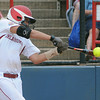 Oklahoma catcher Jessica Shults' connects on a 2-rbi double against Arizona State, Sunday, June 3, 2012, in a semifinal game of the Womens College World Series at ASA Hall of Fame Stadium in Oklahoma City. Jerry Laizure/The Transcript