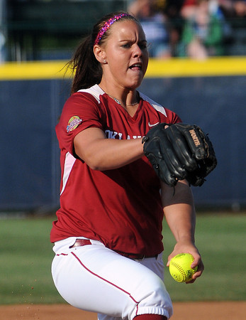 Oklahoma starter Keilani Ricketts struck out 16 Cal batters, Friday, June 1, 2012, in a second round game of the Womens College World Series at ASA Hall of Fame Stadium in Oklahoma City. Jerry Laizure/The Transcript