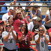 Oklahoma fans cheer a Sooner hit  Thursday, May 31, 2012, at the Womens College World Series. Oklahoma defeated South Florida, 5-1, in the opening round and will face California at 5 p.m. today. Jerry Laizure/The Transcript