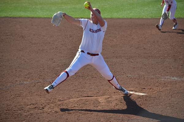 OU's Keliani Ricketts pitches to a Nebraska batter during the Sooners' game Saturday afternoon.<br /> Kyle Phillips/The Transcript