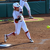 OU's Georgia Casey makes contact with the ball Saturday during the Sooners' game against Nebraska at Marita Hynes Field <br /> Kyle Phillips/The Transcript