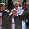 The Sooner bench celebrates after OU beats Nebraska in the first game of theif double-header Saturday at Marta Hayes Field.<br /> Kyle Phillips/The Transcript