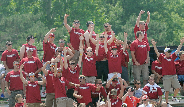 The Oklahoma baseball team cheers a Keilani Ricketts homerun against Arizona Friday, May 25, 2012, in the NCAA super regional being played at Marita Hynes Field in Norman. Jerry Laizure/The Transcript