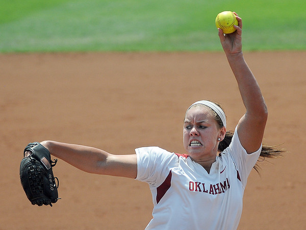 Oklahoma starter Keilani Ricketts throws to an Arizona batter Friday, May 25, 2012, in the NCAA super regional being played at Marita Hynes Field in Norman. Jerry Laizure/The Transcript