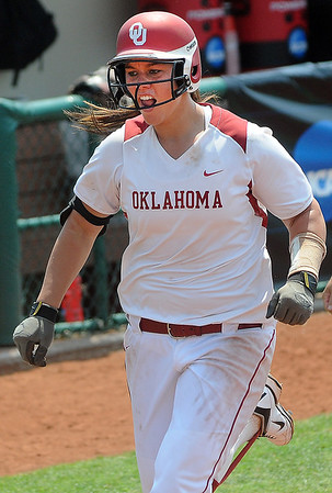 Oklahoma pitcher Keilani Ricketts heads home after hitting a homerun against Arizona Friday, May 25, 2012, in the NCAA super regional being played at Marita Hynes Field in Norman. Jerry Laizure/The Transcript