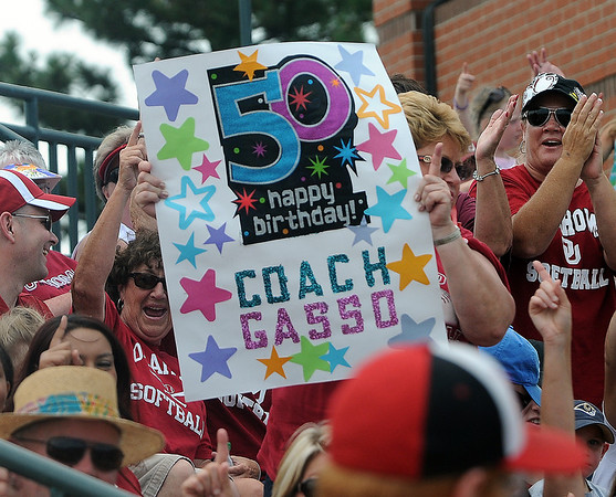 Oklahoma coach Patty Gasso picked up her 50th win of the season on her 50th birthday Saturday, May 26, 2012, with a 7-1 win over Arizona in the NCAA super regional being played at Marita Hynes Field in Norman. Jerry Laizure/The Transcript