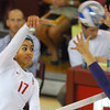 OU's Keila Rodriguez (17) spikes the ball Wednesday during the Sooners' match against Kansas State at the McCasland Field House. To see more photos from the game visit photos.normantranscript.com<br /> Kyle Phillips/The Transcript