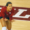 OU's Maria Fernanda reacts after the Sooners score a point during their match against Kansas State Wednesday at the McCasland Field House. See the story on page B1. Kyle Phillips/The Transcript