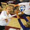 OU's Sallie McLaurin (14) spikes the ball  Wednesday during the Sooners' match against Kansas State at the McCasland Field House. <br /> Kyle Phillips/The Transcript