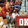 OU's Maria Fernanda reacts after the Sooners score a point during their match against Kansas State Wednesday at the McCasland Field House.  See the story on page B1.<br /> Kyle Phillips/The Transcript