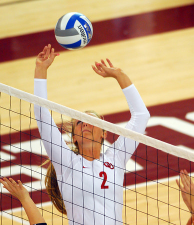OU's Julia Doyle (2) seta up the ball for a spike Wednesday during the Sooners' game against Wichita at the McCasland Field House.  To see more photos from the game visit photos.normantranscript.com.<br /> Kyle Phillips/The Transcript