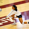 OU's Keila Rodriguez (17) reaches out to hit the ball during the Sooners' match against Wichita State Wednesday at the McCasland Field House.  To see more photos from the game visit photos.normantranscript.com.<br /> Kyle Phillips/The Transcript