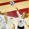 Oklahoma's Sallie 4	McLaurin spikes the ball during the Sooners' match against West Virginia Saturday night at the McCasland Field House.<br /> Kyle Phillips/The Transcript