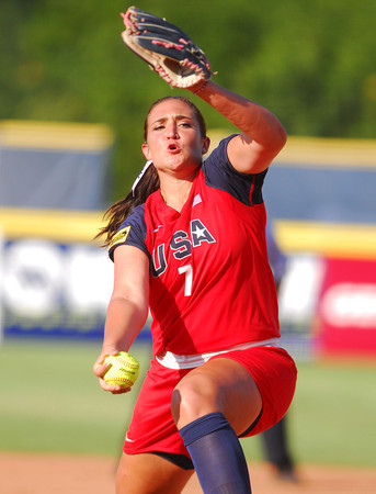 Jordan Taylor (7) pitches to a Team Australia batter Friday during her team's game at the ASA Hall of Fame Stadium.<br /> Kyle Phillips