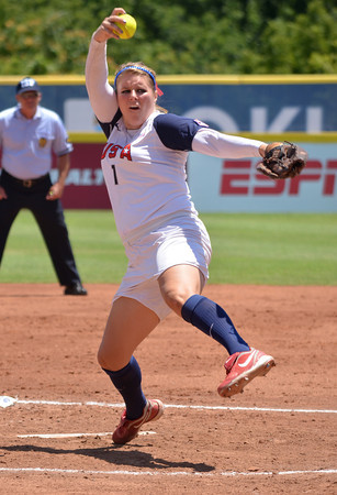 Chelsea Thomas pitches the ball to a Team Brazil batter Janae Leles waits for a ground ball during Team USA's game against Team Brazil Sunday at the ASA Hall of Fame Stadium.<br /> Kyle Phillips/The Transcript