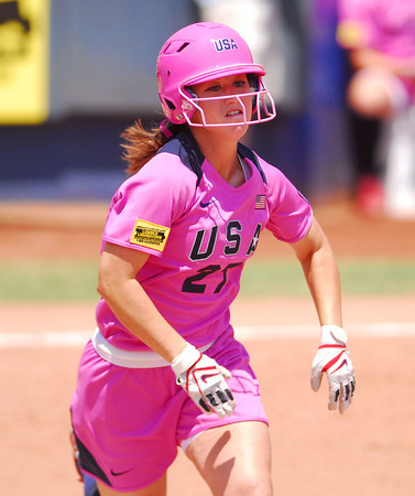 Lauren Gibson (27) runs to first after getting a hit as Team USA takes on  the Netherlands Saturday afternoon at the ASA Hall of Fame Stadium.<br /> Kyle Phillips/The Transcript