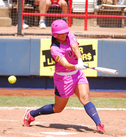 Janae Leles strikes out swinging during her turns at bat as Team USA takes on  the Netherlands Saturday afternoon at the ASA Hall of Fame Stadium.<br /> Kyle Phillips/The Transcript
