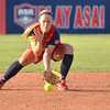 Team USA infielder Molly Johnson picks up a ground ball during USA's game against Team Australia Friday evening at the ASA Hall of Fame Stadium.<br /> Kyle Phillips/The Transcript