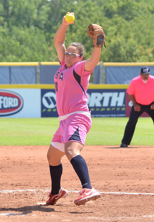 Jackie Traina (11) pitches to a Netherlands batter during during Team USA's game  Saturday afternoon at the ASA Hall of Fame Stadium.<br /> Kyle Phillips/The Transcript