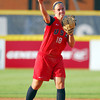 Team USA infielder Molly Johnson throws the ball to first after picking up a ground ball Friday during USA's game against Australia at ASA Hall of Fame Stadium.<br /> Kyle Phillips/The Transcript