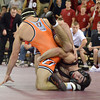 Oklahoma State's Tyler Caldwell puts a hold on OU'sPatrick Graham   Sunday during the Bedlam wrestling match at the McCasland Field House at the University of Oklahoma.<br /> Kyle Phillips/The Transcript