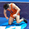 ISAIAH MARTINEZ of Illinois pounds the mat in celebration as he was crowned national champion in the 157 pound division at the NCAA division 1 wrestling championships held at Scottrade Center in St. Louis MO.