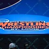 The 2015 logo is lit up at the NCAA division 1 wrestling championships held at Scottrade Center in St. Louis MO.