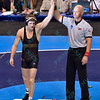 DRAKE HOUDASHELT of Missouri gets his hand raised as he is crowned national champion in the 149 pound division at the NCAA division 1 wrestling championships held at Scottrade Center in St. Louis MO.