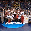 The Ohio State wrestling team poses with the trophy at the NCAA division 1 wrestling championships held at Scottrade Center in St. Louis MO.