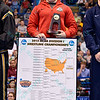 NATHAN TOMASELLO holds the bracket that he won in the 125 pound division at the NCAA division 1 wrestling championships held at Scottrade Center in St. Louis MO.