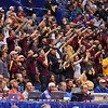 Minnesota fans cheer on their wrestlers during the second round of the NCAA division 1 wrestling championships held at Scottrade Center in St. Louis MO.