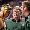 KURTIS JULSON of North Dakota State gets his nose plugged to stop the bleading during the second round of the championship bracket of the NCAA division 1 wrestling championships held at Scottrade Center in St. Louis MO.