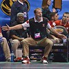 Coach MARK MANNING of Nebraska reacts during the pigtail and first round competition of the NCAA division 1 wrestling championships held at Scottrade Center in St. Louis MO.
