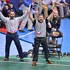 West Virginia coaches NICHOLAS FELIX and SAMMIE HENSON celebrate the victory in their semi-final match during the NCAA division 1 wrestling championships held at Scottrade Center in St. Louis MO.