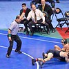 NATHAN TOMASELLO of Ohio State gets awarded two points for a take down of ALAN WATERS of Missouri in their semi-final match during the NCAA division 1 wrestling championships held at Scottrade Center in St. Louis MO.