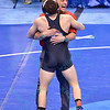 NATHAN TOMASELLO of Ohio State gets congratulated by coach LOU ROSSELLI after his victory in their semi-final match during the NCAA division 1 wrestling championships held at Scottrade Center in St. Louis MO.