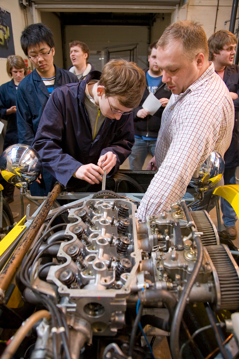 Students working on a demonstration car in the School of Engineering.
