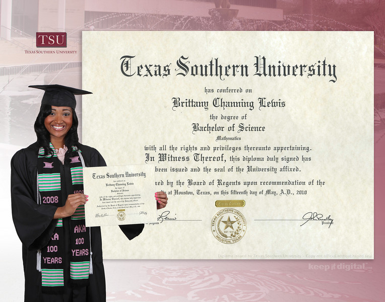 tsu keep it digital diploma sample keepitdigital texassouthern digitaldiploma keepitdigital brittany 11x14