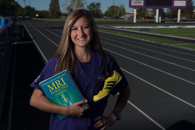 Taylor Ward, Rad Sci student, track runner, 5000 yard dash, alumni magazine ad 2014, Dumke College of Health Professions, Radiologic Science