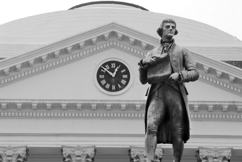 Statue of Thomas Jefferson behind the Rotunda at the University of Virginia