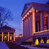 University of Virginia Rotunda decorated with Christmas lights with snow on the ground