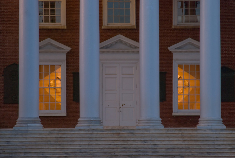 Door and windows of the Rotunda at the University of Virginia at dusk