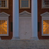 Door and windows of the Rotunda at the University of Virginia at dusk