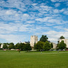 Semi-panorama of Burrus Hall and the drillfield at Virginia Tech