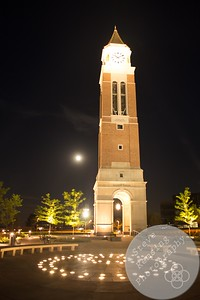 Elliott Tower with a full moon in the background