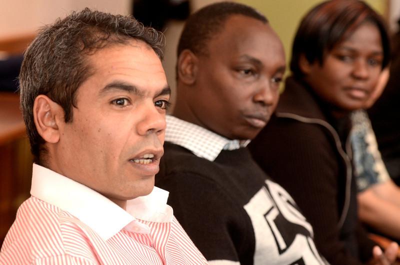 Mike McMahon - The Record, Raafat Badawy, Egypt,  Paul Mwaniki, Kenya, Florence Namuigasa, Uganda ILEP fellows at the College of St. Rose in Albany. Thursday February 6, 2014.