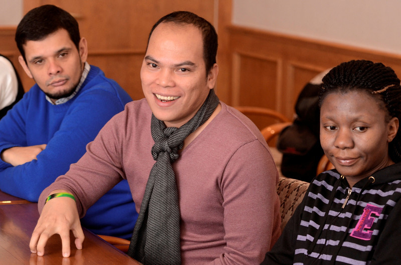 Mike McMahon - The Record, L-R Wheber Kaizer de Freitas, Brazil, Bernabe Linog, Philippines, Diana Nalule Uganda  ILEP fellows at the College of St. Rose in Albany. Thursday February 6, 2014.