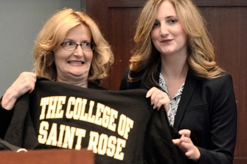 Mike McMahon - The Record,   The board of trustees of The College of Saint Rose today proudly announced the selection of Dr. Carolyn J. Stefanco, with her daughter Alexandra, of Decatur, Ga., to serve as the 11th president of the College , Monday April 14, 2014.