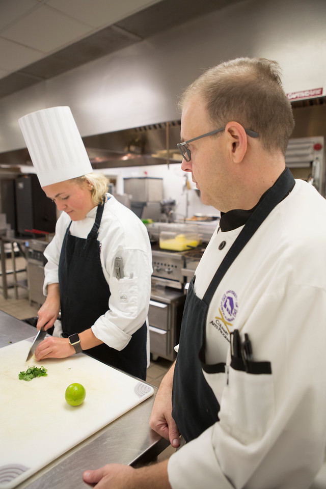 For the final grade, two dishes were prepared by Culinary students and presented to local experienced chefs.